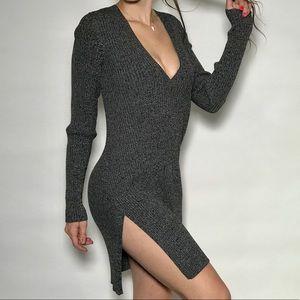 Intermix Gray Long Sleeve Vneck Dress